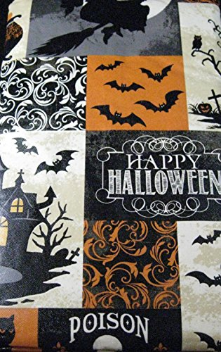 Haunted Halloween Flannel Back Vinyl Tablecloth By Elrene- Assorted Sizes up to 120 Inches. Oblong and Round