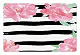 Lunarable Floral Pet Mats for Food and Water by, Watercolor Peony Flowers with Black Brush Strokes Romantic Spring Print, Rectangle Non-Slip Rubber Mat for Dogs and Cats, Light Pink Black White