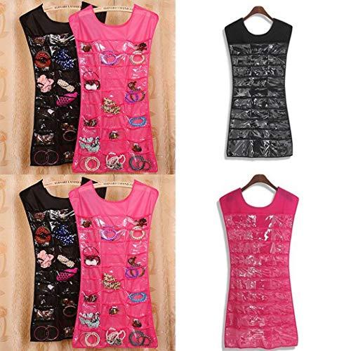 Double Side Pouch - Whatyiu Jewelry Organizer Bag, Socks Bra Underwear Storage 36 Pockets 24 Hooks Double-Side Jewelry Pouch Storage Bag for Door Closet Cabinet(Pink)