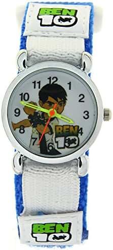Ben 10 Cartoon Character Kid Girls Boys Student Blue Velcro Strap Analogue Quartz Wrist Watch