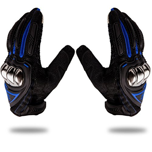 Wonzone Steel Reinforced Knuckle Motorcycle Gloves Motorbike Touch Screen Powersports Racing Textile Safety Summer Outdoor Sports Gloves (Blue, Large)
