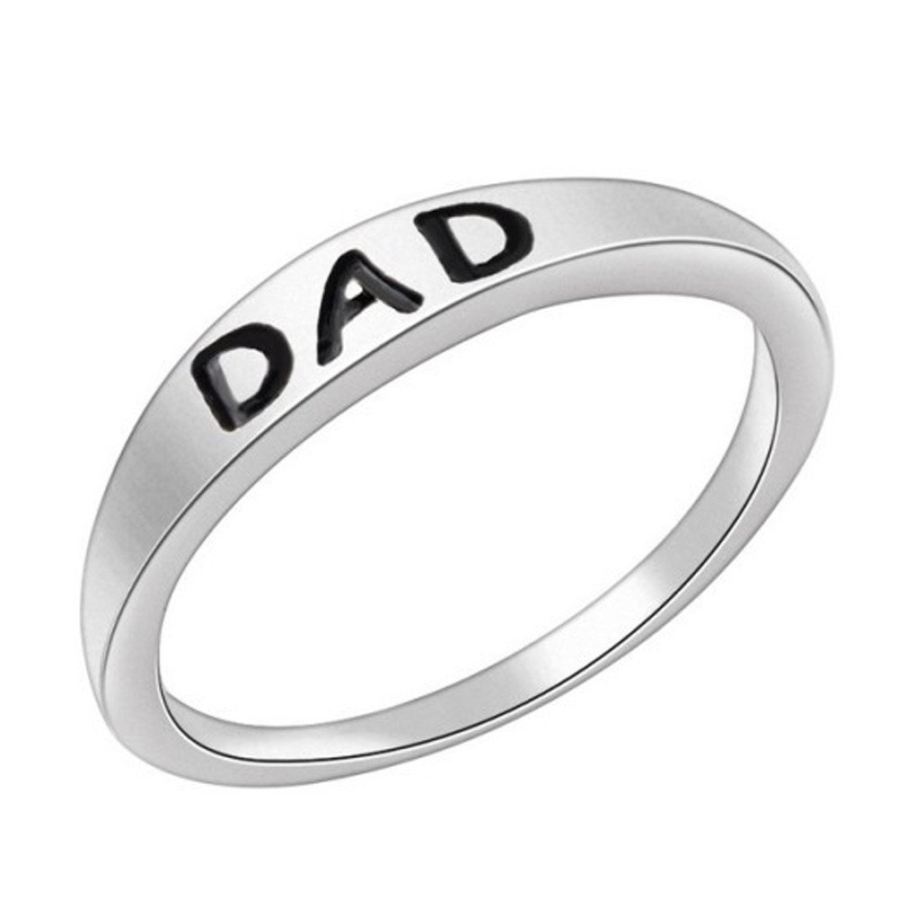 Toaimy Silver Dad Letter Rings Charm Exquisite Elegant Women Girl Jewelry Accessories