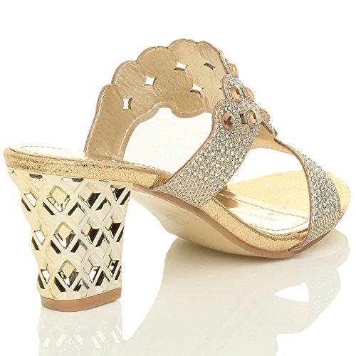 Ajvani Womens Ladies mid high Block Heel Prom Diamante Evening Slip on Mules Sandals Size Gold ePio00Jh