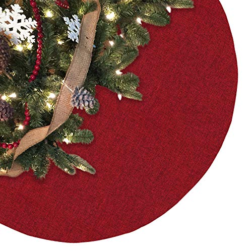 Ivenf 48 inch Large Burgundy Burlap Like Plain Christmas Tree Skirt, Rustic Xmas Tree Holiday Decorations (Knit Tree Skirt)
