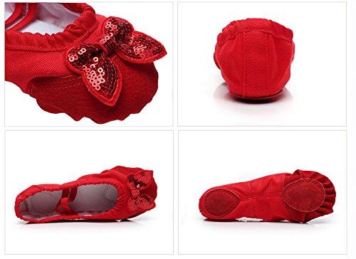 Cystyle Gute Qualität Ballettschuhe weich Ballet Trainings Schläppchen Schuhe für Mädchen/Damen mit Bowknot Pailletten Rosa mit Lederkopf