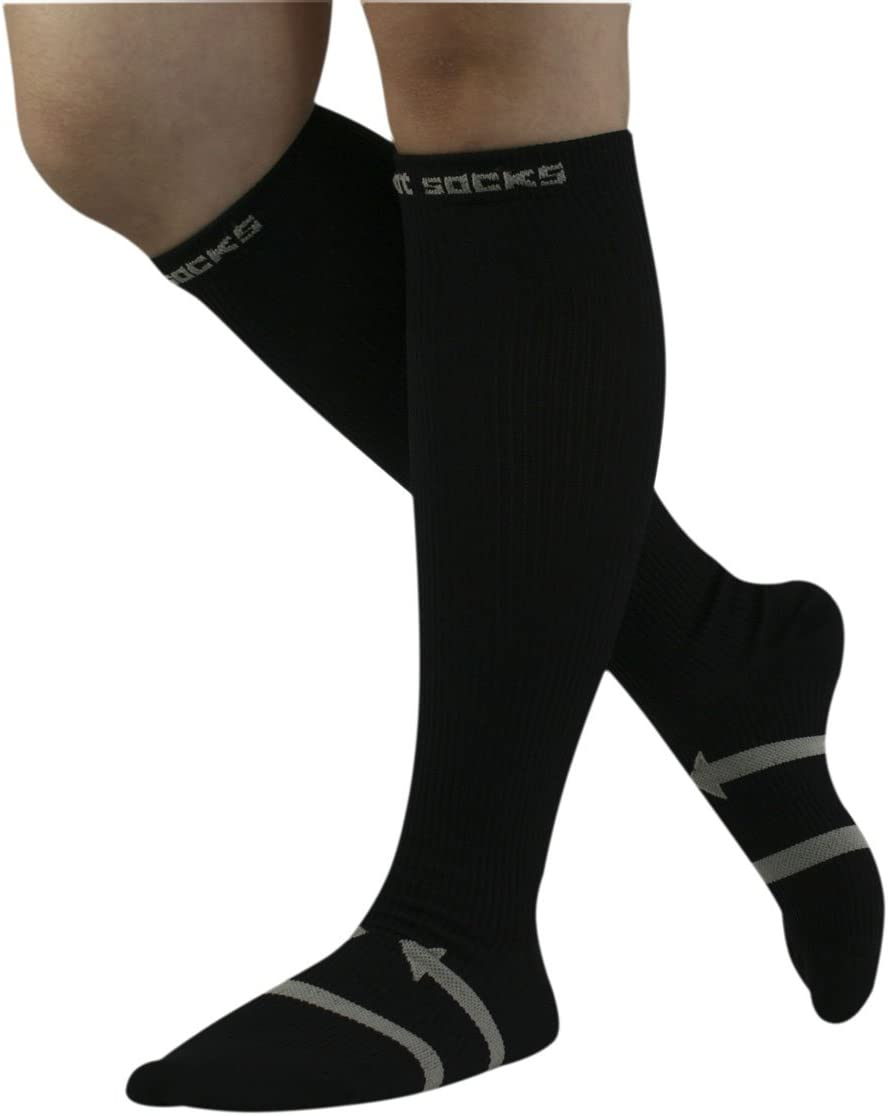 Black Size L Men Compression Socks WINOMO Knee High Athletic Socks for Exercise Running Cycling Basketball