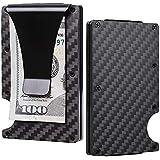 Santo Carbon Fiber Slim Minimalist Front Pocket Wallet Credit Card Case Holder RFID Blocking 7Mm Thin Metal Mini Money Clip Anti-chief Card Wallet (Carbon Fiber Black)