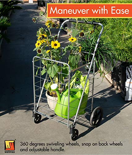 Wellmax Grocery Shopping Cart with Swivel Wheels – Foldable & Collapsible Utility Cart with Adjustable Height Handle – Space Saving Heavy Duty Light Weight Trolley by Wellmax (Image #5)