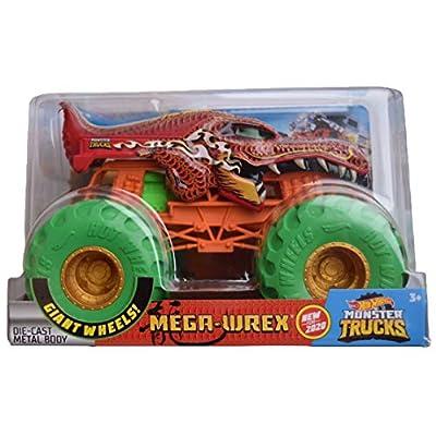 Hot Wheels Monster Trucks 1:24 Scale Mega Wrex New for 2020, red: Toys & Games