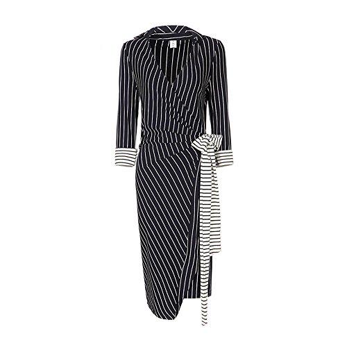 Annie Baby vertical striped dress long sleeve formal dresses for women pencil skirt v neck dress (XXL)