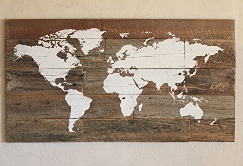 Barn wood world map in large size for travelers by Grindstone Design