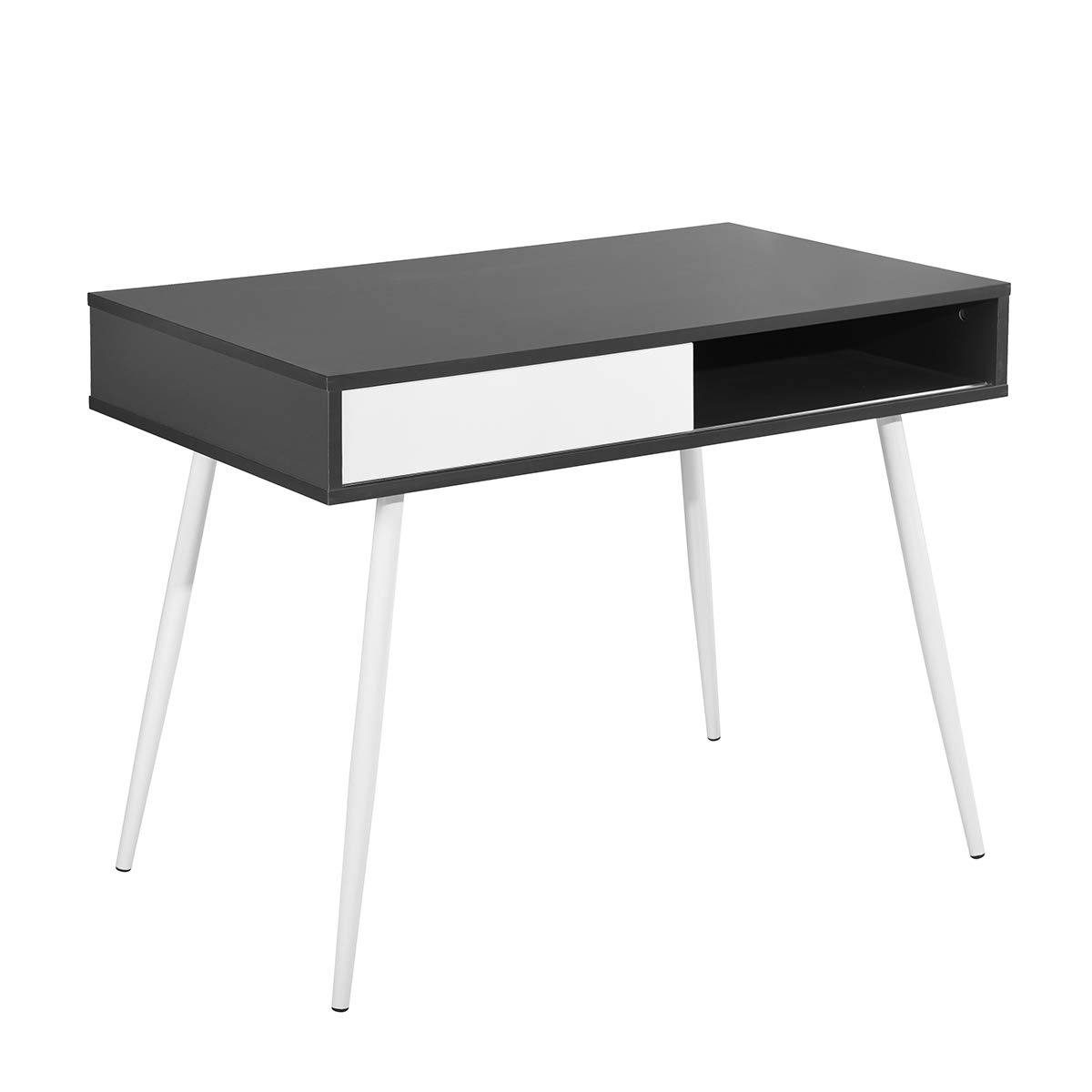 Ihouse Full Wood Task Sturdy Accent Home Office Computer Desk with Movable White Drawer (Black)