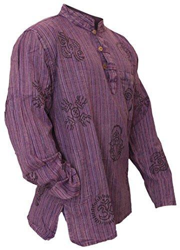 SHOPOHOLIC FASHION Mens Stonewashed Striped Grandad Shirt (2XL,Purple)