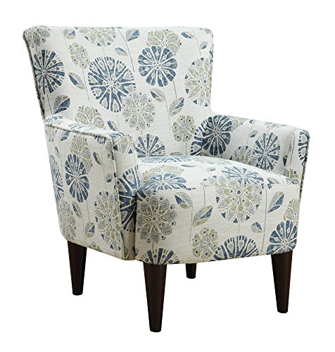 Emerald Home Flower Power Cascade Teal Accent Chair with Flared Arms And Welt Trim ()