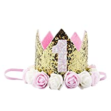 Baby Girl 1st Birthday Princess Crown Sparkling Golden Crown Party Hats Flower Headband Hair Accessories Pink White Flower
