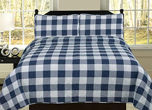 HowPlum King Buffalo Check Plaid Stripe Checkered Quilt Bedding Set, Navy and White