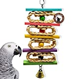 Bird Chew Toys with Natural Rattan Ball String Hanging Rope Bells for Parrot Parakeet Macaw African Greys Budgies Bite,Bird Cage Supplies Funny Pet Swing Sepak Takraw (parrot chew toys)