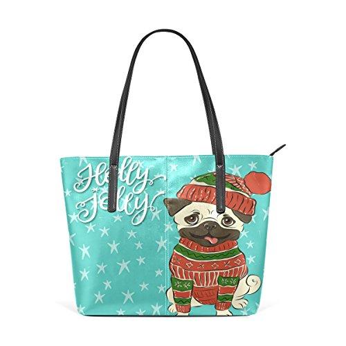 Top Handbag Dog Totes The Sweater Wearing TIZORAX Christmas Bags Fashion Knitted Shoulder Handle Pug Leather PU Women's Purses Happy Winter pw1U6xxqOI