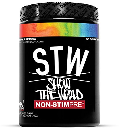 Run Everything Labs | STW | Show The World | Non-STIM PRE Workout (Candy Rainbow) (World Best Pre Workout Supplement)