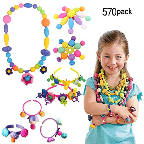 VZEHCU Kids Pop Snap Beads Set 570 PCS- Creative DIY Jewelry Kit Girls Necklace Bracelet Art Crafts Toys