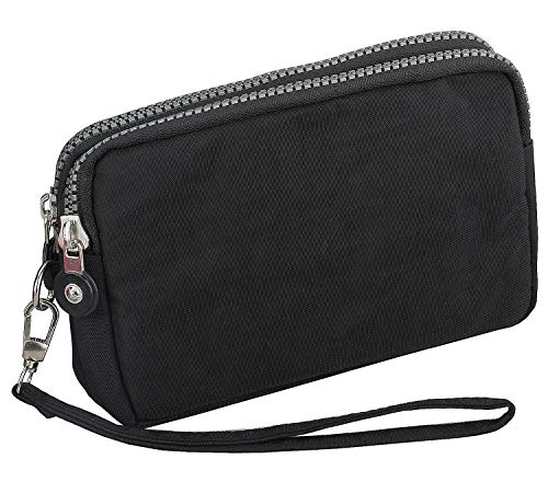 3 Zippers Clutch Wallet Waterproof Nylon Cell phone Purse Wristlet Bag Money Pouch for Women (Black) by Coolstar (Image #2)
