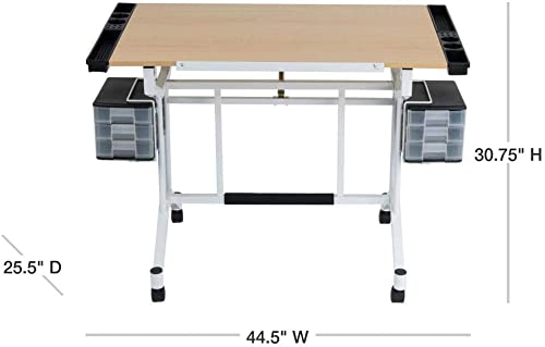 Studio Designs Pro Craft Station with Casters, Tilting Top, and Storage in White Maple