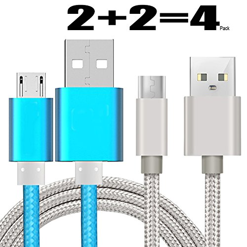 [4Pack] Charge Sync Data Micro USB Cable for Kindle, 5FT Fast High Speed USB 2.0 A Male to Micro B for Amazon Kindle Fire,HD,HDX,Kindle Paperwhite Voyage Oasis Tap Fire Phone Xbox One-Silver+Blue