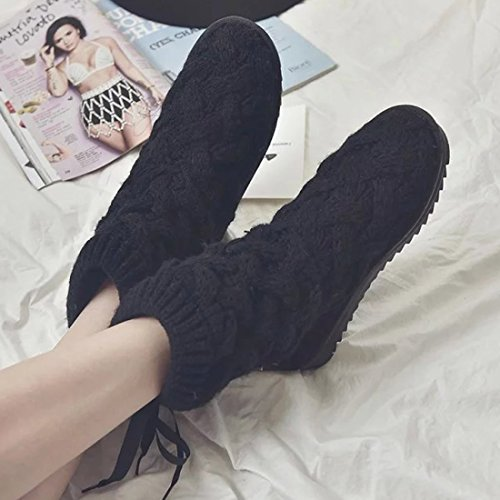 O&N Women Girls Round Toe Sweater Knit Boot Winter Warm Snow Flat Ankel Boots Black FWXHBnwFKN