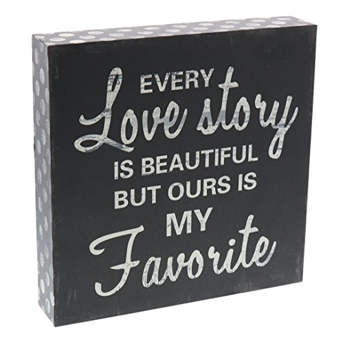 (Barnyard Designs Every Love Story is Beautiful Wooden Box Wall Art Sign, Primitive Country Farmhouse Home Decor Sign with Sayings 8