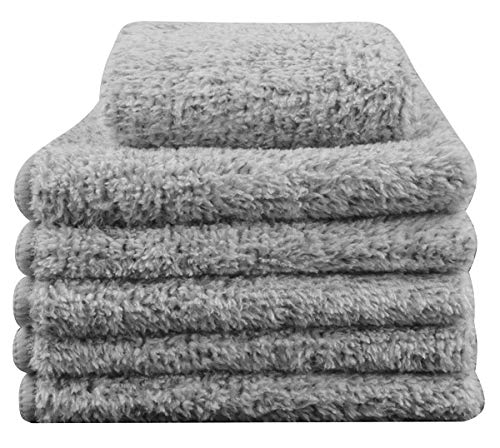 DAVITU US Warehouse Microfiber Bamboo Charcoal Fiber Hand Face Baby Towel Facial Washcloths 12Inch x 12Inch 6 Pack Light Grey - (Color: Light Grey) (Fiber Charcoal)