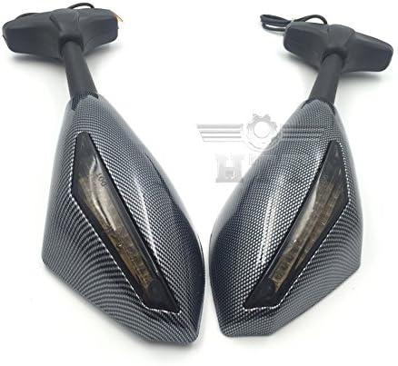 HTT Carbon Turn Signal Mirrors with Smoke Lens Fit For Suzuki GSXR 600 700// Honda CBR 600 900// Yamaha YZF R6 R6S Triumph Daytona