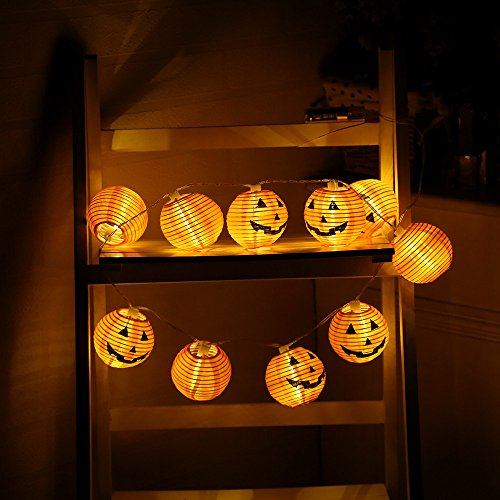 Sujing LED Fairy Lights, LED String Light, LED Lanterns Lights, LED Pumpkin Fairy Lights, 3D LED Pumpkin Lights for Halloween Decorations Indoor & Outdoor Theme Parties Festival (10 LED) ()