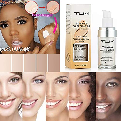 TLM Flawless Colour Changing Warm Skin Tone Foundation Makeup Base Nude Face Foundation Moisturizing Liquid Cover Concealer for women girls