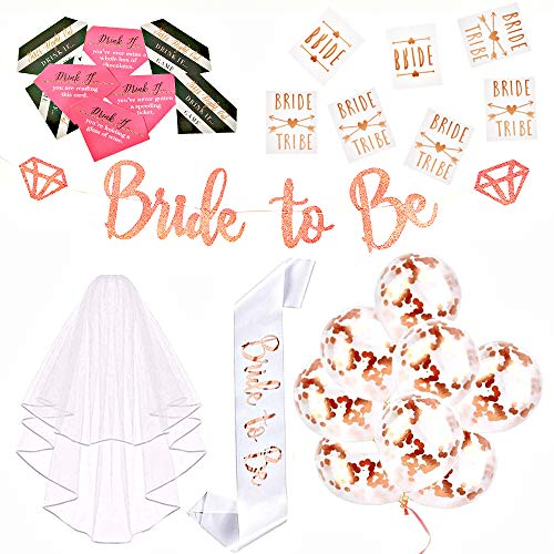 Bachelorette Party Decorations Kit Rose Gold Pre-Strung Bride to Be Banner Confetti Balloons Tribe Flash Tattoos Sash Veil Drinking Games Bridal Shower Wedding Supplies