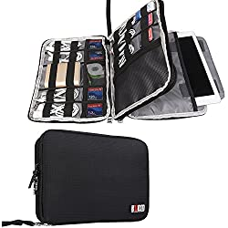 "BUBM Double Layer Electronics Organizer/Travel Gadget Bag for Cables, Memory Cards, Flash Hard Drive and More, Fit for iPad or Tablet(up to 9.7"")-Large, Black"