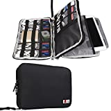 BUBM Double Layer Electronics Organizer/Travel Gadget Bag for Cables, Memory Cards, Flash Hard Drive and More, Fit for iPad or Tablet(up to 9.7'')-Large, Black