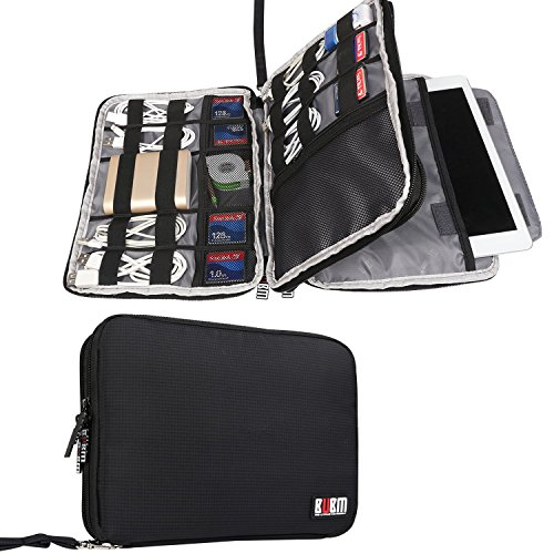 BUBM Double Layer Electronics Organizer/Travel Gadget Bag for Cables, Memory Cards, Flash Hard Drive and More, Fit for iPad or Tablet(up to 9.7)-Large, Black