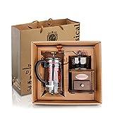 DeFancy Vintage Style Manual Coffee Grinder Hand Grinder & French Press Coffee/tea Maker Set in Gift Package
