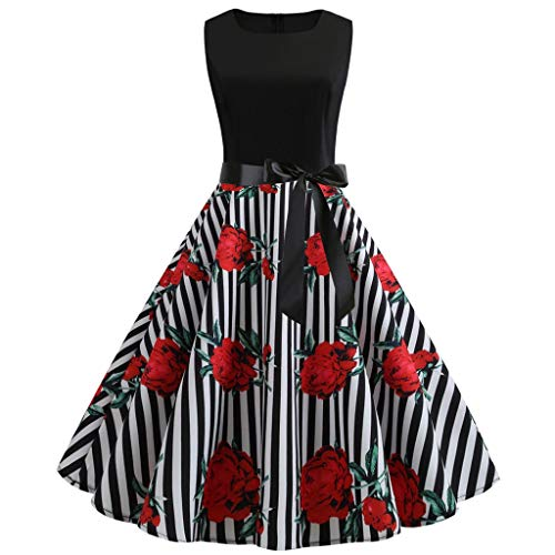 TOTOD Summer Dress - Fashion Women's 1950s Vintage Boho Print Minidress Elegant Sleeveless Party Outfits