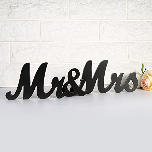 GLOGLOW Mr & Mrs Large Wood Wedding Letters Plaque Vintage Wooden Sign Wedding Table Decoration Present Photo Props 2 Color(Black)