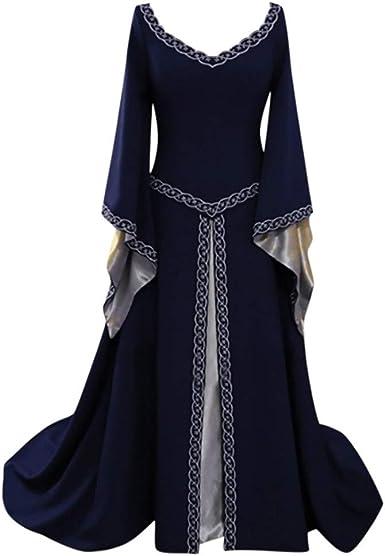 Ladies Vintage Costume Victorian Medieval Long Sleeve Printed A Line Maxi Dress