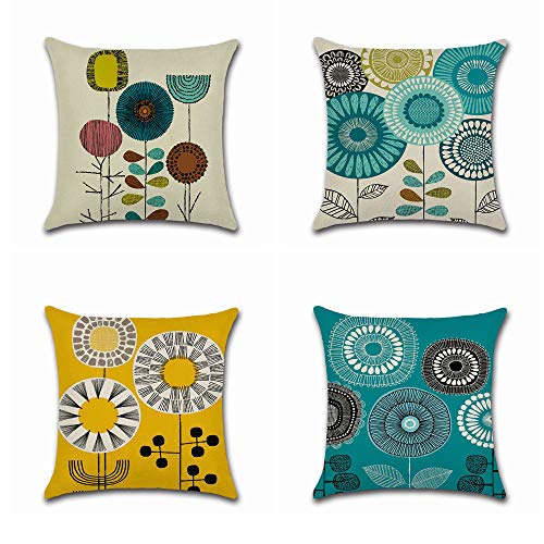 BoomTeck Decorative Throw Pillow Covers for Couch Sofa 18 x 18 Inch Set of 4 Blue Yellow Sunflower Floral Abstract Pattern Linen Soft Solid Square Cushion Cover Cases Home Decor Flowers Pillowcase (Turquoise Brown And Pillows)