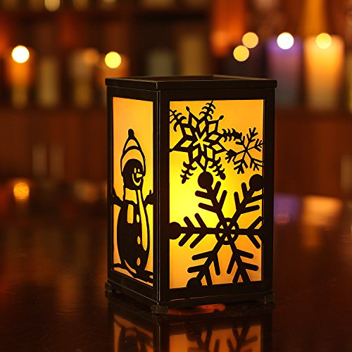 """GiveU Decorative Led Candle Lantern with Timer Rustic Candle Lantern with Twelve Magnetic Seasonal Themed Panels ,5 x 5 x 8.5"""" Black"""
