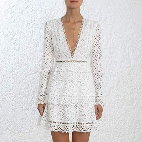 Pale QUNLIANYI Robe Longue Gatsby Femmes Sexy V-Cou Flare Sleeve Party Robe Dembrérie Lacune Hollow Out Ruffle Short Dress M