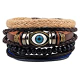 Wood Beads Ethnic Tribal Evil Eye Bracelets Cuff Multi layer Leather Wrap Bracelet Vintage Rope Wristband
