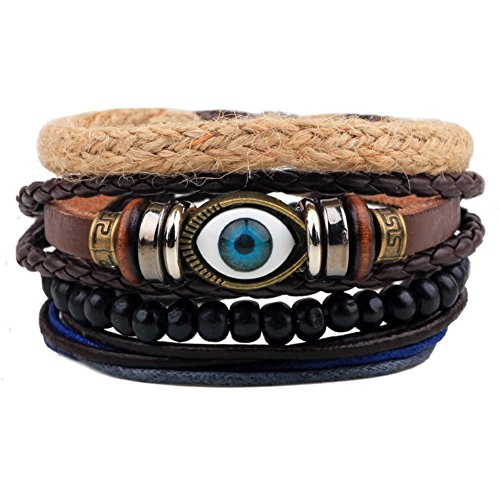 Wood Beads Ethnic Tribal Evil Eye Bracelets Cuff Multi layer Leather Wrap Bracelet Vintage Rope Wristband
