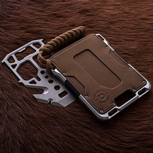 Dango M1 Maverick Tactical Wallet - Brown Rawhide/Raw Aluminum - Made in USA
