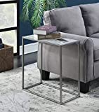 Convenience Concepts 413425S Gold Coast Faux Marble Chairside Table, Silver
