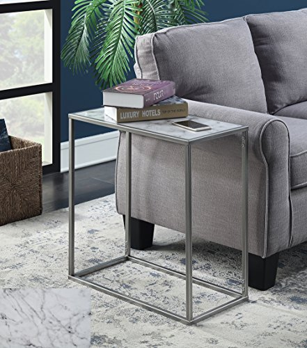 Cheap Convenience Concepts 413425S Gold Coast Faux Marble Chairside Table, Silver