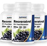 Nutricost Resveratrol 500mg; 120 Capsules – 50% Trans-Resveratrol (3 Bottles) Review